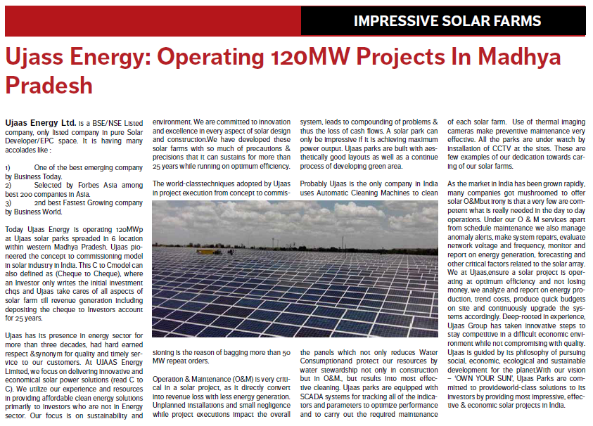 Ujaas Energy Ltd  | Solar Power Plant | Solar Power Solutions